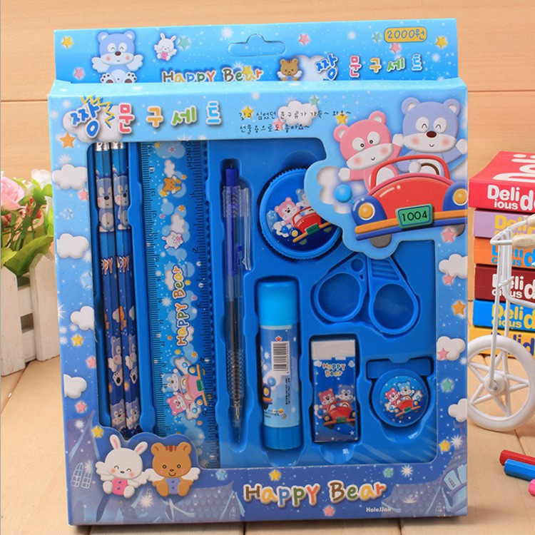 Kids Stationery Set Primary School Student Award Gift Pencil Ruler Eraser Clip