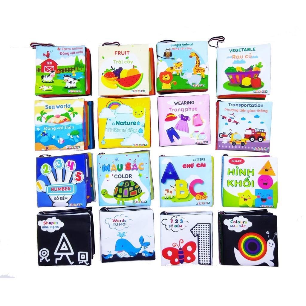 Sách vải – sách vải cho bé kích thích thị giác với nhiều chủ đề bằng tiếng anh giúp bé vừa học vừa chơi