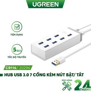 Hub USB 3.0 7 cổng có nút bật tắt, hỗ trợ nguồn 12A 2V UGREEN CR116 20296 thumbnail
