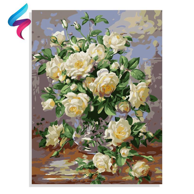 Tranh sơn dầu trang trí hình hoa mẫu đơn 7682