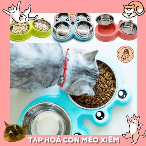 Chén bát ăn đôi gồm 2 tô inox riêng và đế hình mặt ếch cho thú cưng chó mèo cao cấp