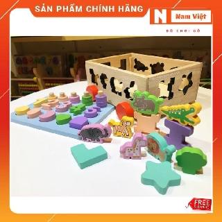 Xe kéo ô tô thả hình khối, con vật, học số và tập đếm xâu hạt đồ chơi gỗ