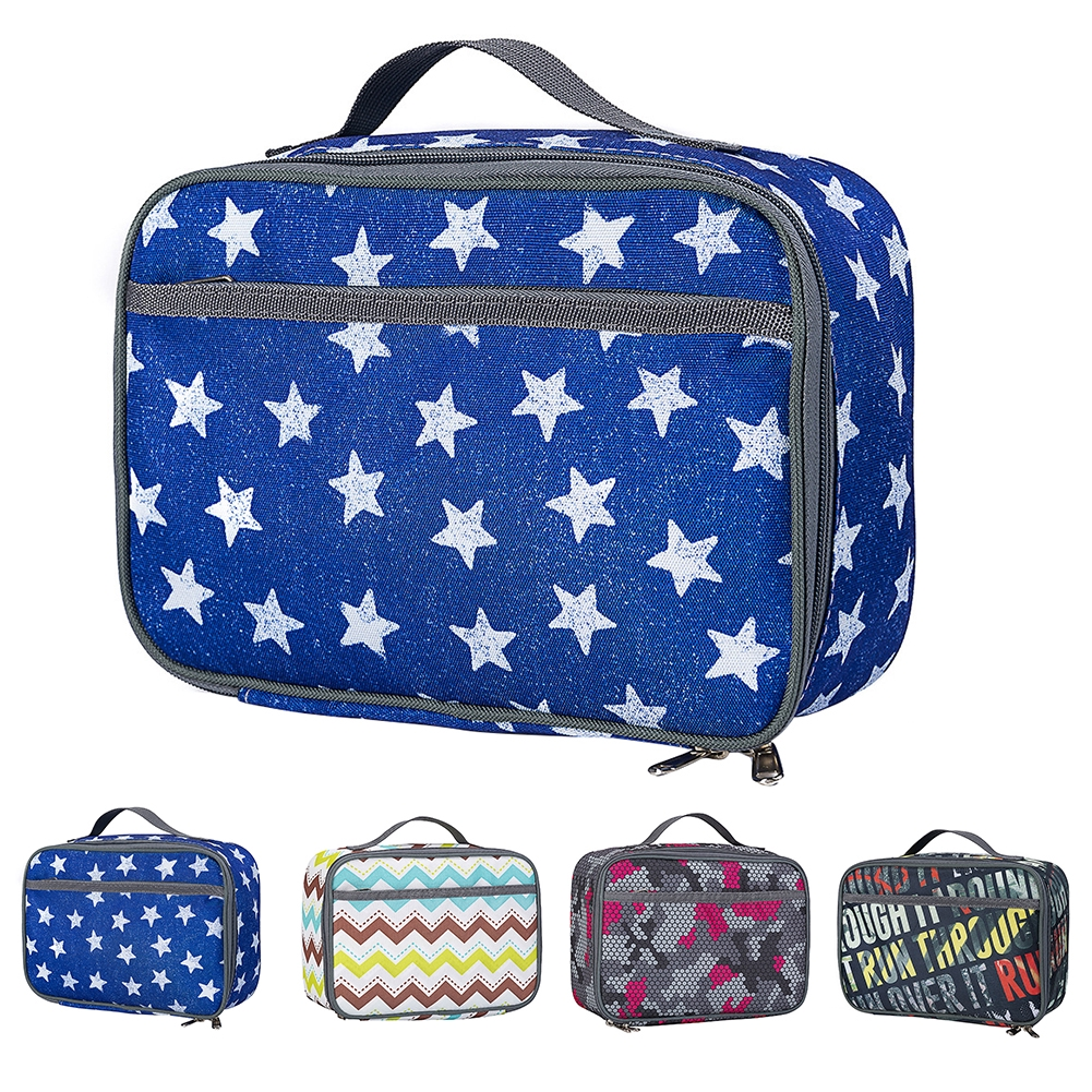 Reusable Insulated Pockets School Easy Clean Oxford Cloth With Handle Office Lunch Bag