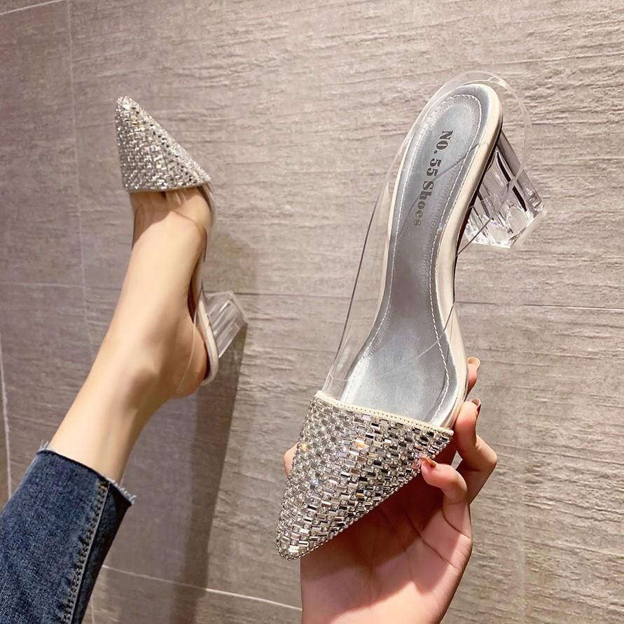 3111-3 giày cao gót trong suốt đế vuông độc đáo
