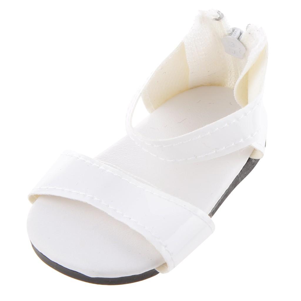 Giày sandal khóa kéo trắng cho búp bê 18 inch