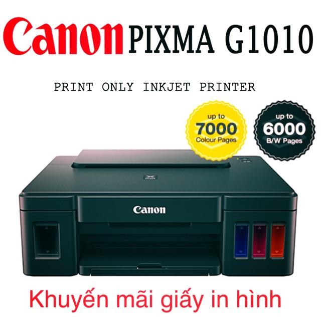 Máy in canon g1010 có hệ thống mực liên tục hãng- 4 chai mực đi kèm- tặng xấp giấy ảnh. Giá chỉ 1.950.000₫