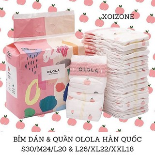 Bỉm tã dán/ tã quần hoa quả OLOLA Hàn Quốc S30/M24/L20 & L26/XL22/XXL18