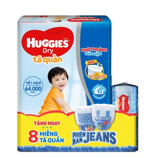 [Tặng 8 miếng tã quần Jeans phong cách]  Tã quần Huggies Pant Super Jumbo M74/L68