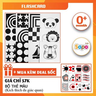 [Flashcard] Bộ Thẻ Đen Trắng Kích Thích Đa Giác Quan Chất Liệu Giấy Cứng Kích Thước 17x17cm thumbnail