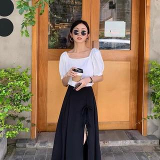 Chân Váy Nữ Xẻ Tà Dây Buộc , Chất Đũi Lưng Chun