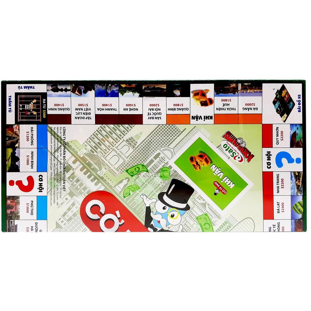 Đồ chơi CỜ TỶ PHÚ loại lớn 420x420x20 mm (63 chi tiết - phiên bản Việt của Monopoly)