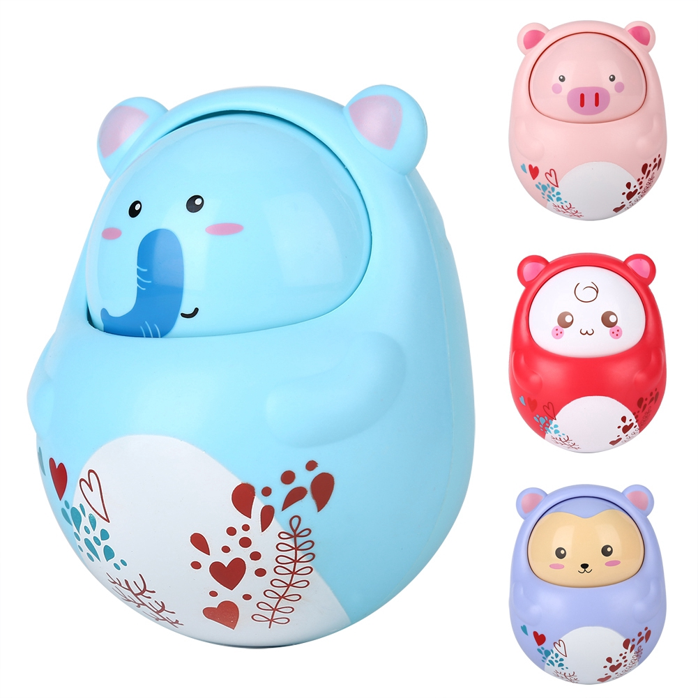 Goonshopping Baby Rattles Nodding Tumbler Doll Bell Toys Infant Kids Cute Cartoon Animal Rattle Toys 0-12 Month Baby Tum