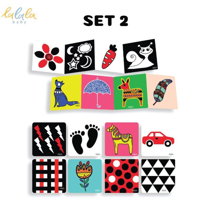 Bộ thẻ kích thích thị giác Montessori Lalala Baby cho trẻ sơ sinh phát triển toàn diện dạng đứng ZIG ZAC và FLASHCARDS