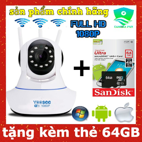 Camera Yoosee 3 Râu 2.0 Full HD 1080P kèm thẻ 64GB