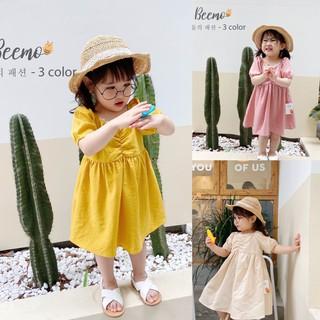 Váy babydoll đũi cao cấp viền ren cho bé gái - Đầm bé gái đũi cho mát mùa hè sành điệu - Sukids váy trẻ em cao cấp