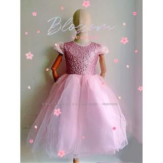 Đầm tay con công chúa cao cấp, dạ hội, dự tiệc, bé gái 4 lớp voan kết ren phối lưới đính kim sa lấp lánh màu hồng
