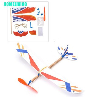 HOMELIVING▷Rubber Band Elastic Powered Aircraft Glider Flying Plane Airplane DIY Kids Toy