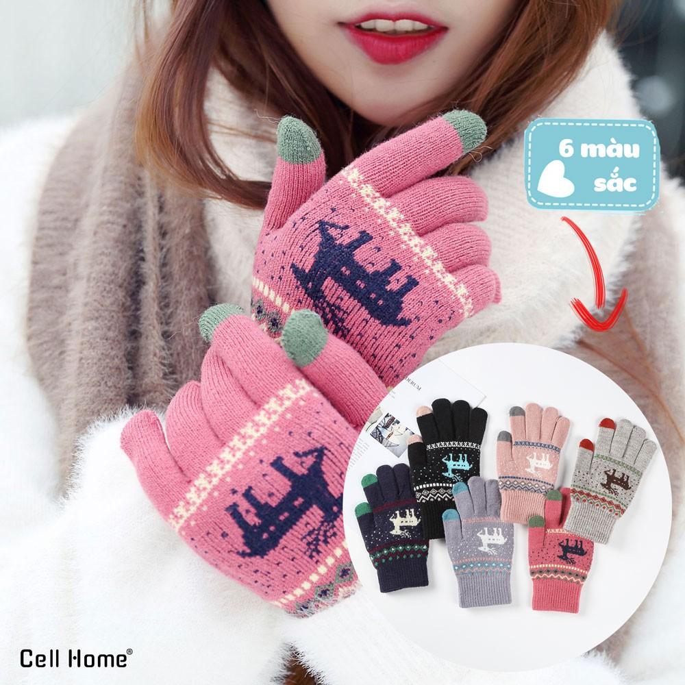 Bao tay giữ ấm, chống nắng giáng sinh với các ngón dệt kim cảm ứng mà hình điện thoại