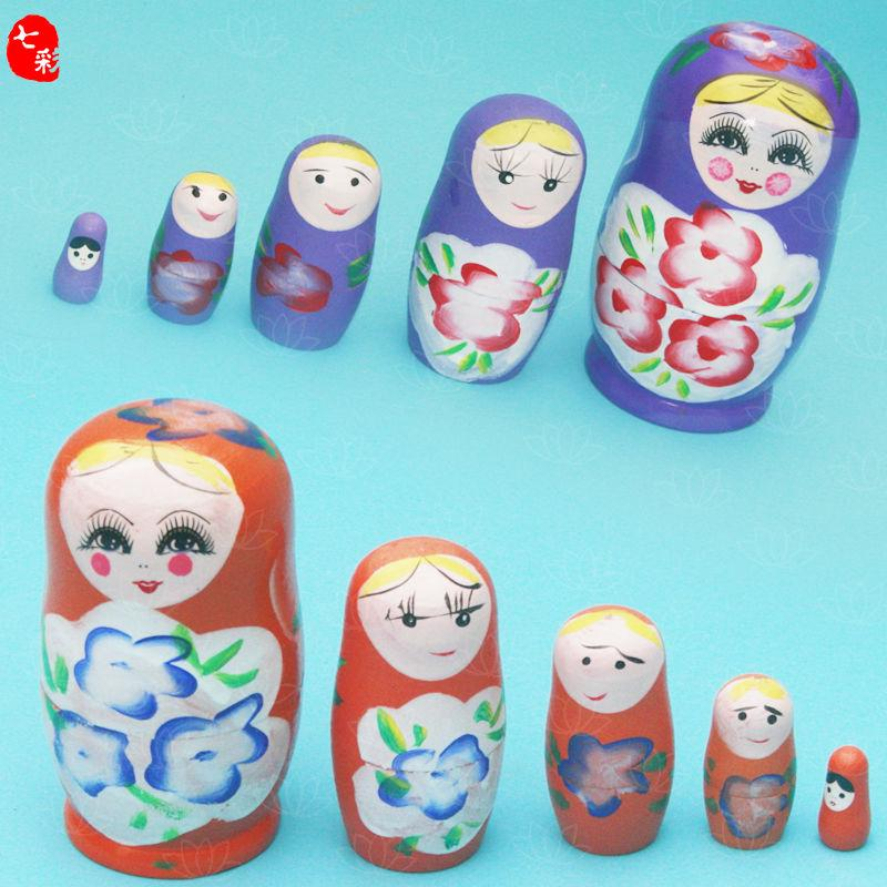 ✎❅Russian set of pure handmade painting made wooden 5-storey baby birthday gift toy Decoration Package Mail
