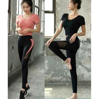 bộ đồ tập gym yoga nữ croptop cổ tim( có kèm mút )