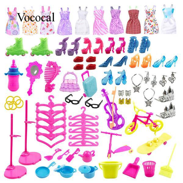 88pcs Doll Accessories Kit High Heels Dress Tools for Barbie Toys Christmas Gift