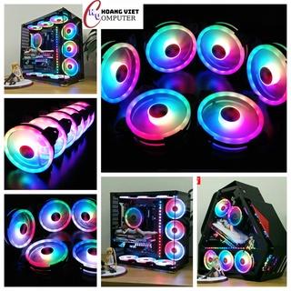 Quạt tản nhiệt pc, fan coolmoon led RGB, Dual Ring fan vòng tâm + vòng viền siêu sáng - SIÊU ĐẸP thumbnail