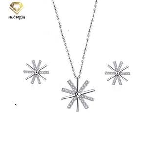 Combo dây chuyền và khuyên tai bạc Ý 925 Huệ Ngân - Hậu duệ mặt trời PP1518-RYE140930