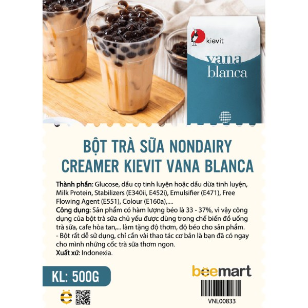 [Mã NOWSHIPMOI hoàn 100% xu đơn 0Đ] Bột trà sữa Nondairy Creamer Kievit Vana Blanca 500g - bột sữa Indo