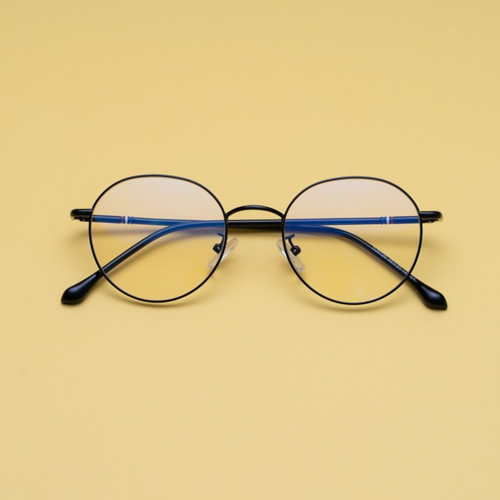 Gọng kính cận kim loại cho mặt vuông 4U, mắt tròn chống bụi hoặc lắp cận, màu đen và đen...