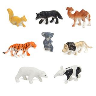 8PCS Plastic Zoo Animal Figure Tiger Leopard Hippo Kids Animal Toys Kids Gift
