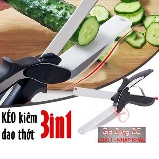 [Cam Kết Loại 1] Kéo cắt thức ăn thực phẩm làm nhà bếp đa năng kiêm thớt dao INOX 304 Clever Cutter 3in1 thông minh