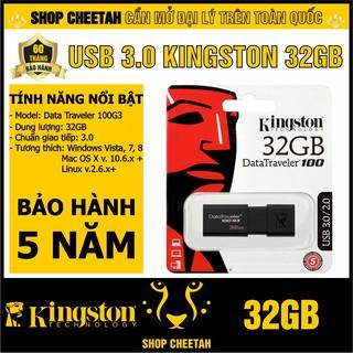 [Mã ELFLASH5 giảm 20K đơn 50K] USB 3.0 Kingston 32GB DataTraveler 100G3 – CHÍNH HÃNG – Bảo hành 5 năm
