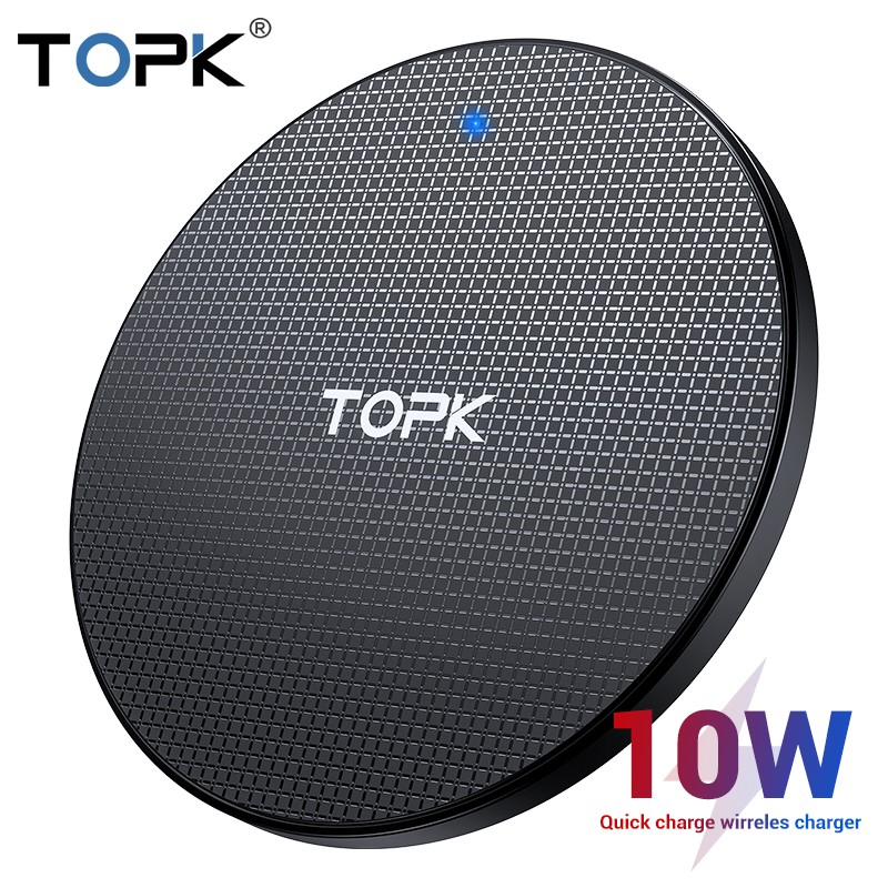 Đế sạc không dây TOPK 10W dành cho iPhone Xs Max X 8 Plus Samsung Note 9
