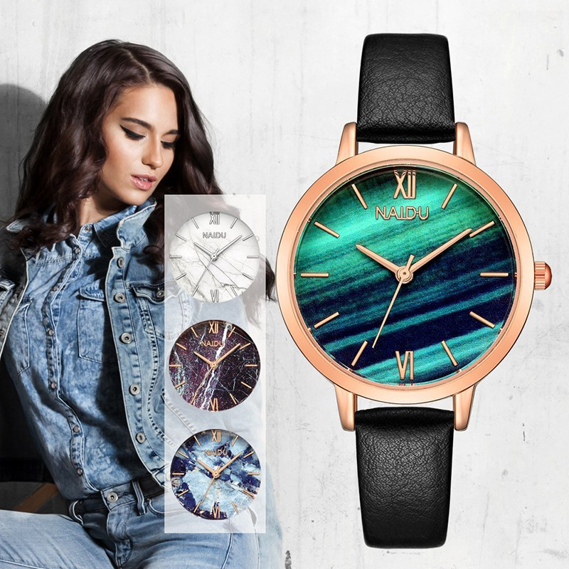 Casual Marble Roman Leather Belt Women's Quartz Analog Watch