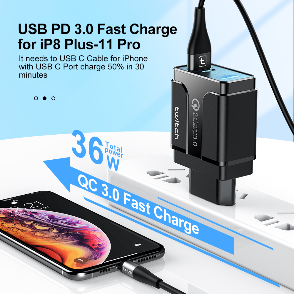 Củ sạc nhanh Twitch Q.C 3.0 cổng USB Type C PD với phích cắm Eu/Us tùy chọn cho Samsung Iphone Huawei Tablet