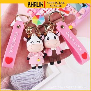 [FREESHIP] Móc khóa xe, treo cặp đi học KHALIK MK01825 - Chú bò dây hồng thumbnail