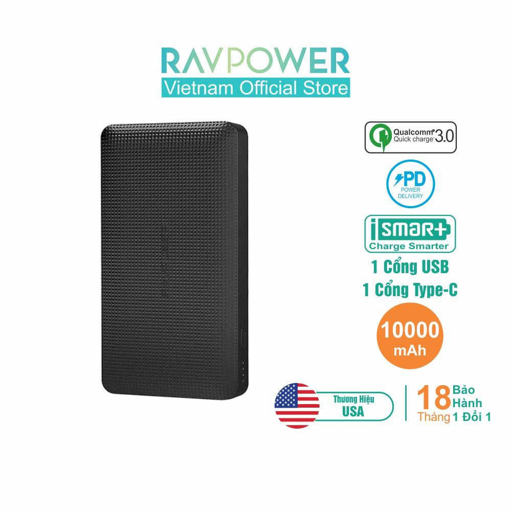 Pin Sạc Dự Phòng RAVPower 10000mAh Sạc Nhanh PD 18W Type-C, Quick Charge 3.0 RP-PB094 (Đen)-Hãng Phân Phối Chính T