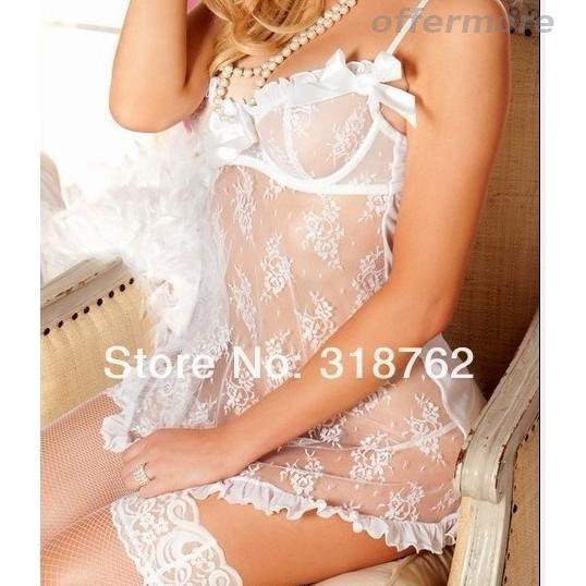 1650709355 - Set đầm dây cộc tay dạng ren + quần lót quyến rũ cho nữ mặc ngủ ban đêm áo hở lưng bộ pijama nữ bra cotton áo lót không