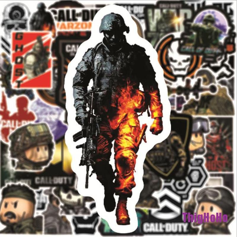 [ThigH] 50Pcs Call of Duty Game Stickers Laptop Phone Skateboard Suitcase Sticker HHHO