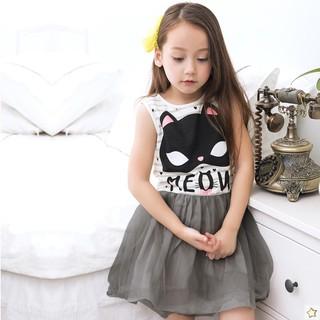 Đầm Xòe Kẻ Sọc In Hình Mèo Hoạt Hình Cho Bé Gái