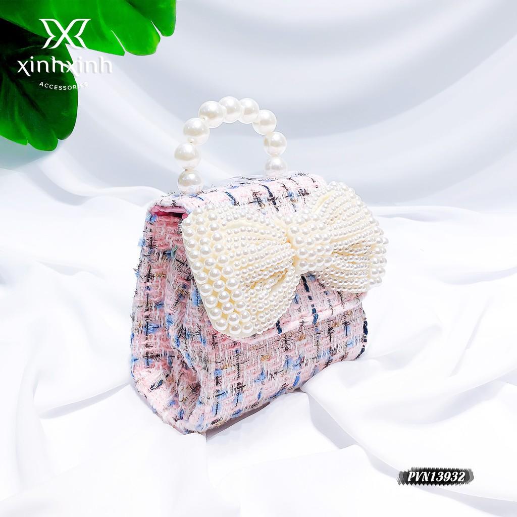 Túi xách cho bé , túi đeo chéo bé gái mini đính nơ kết hạt trai nhân tạo - Xinh Xinh Accessories
