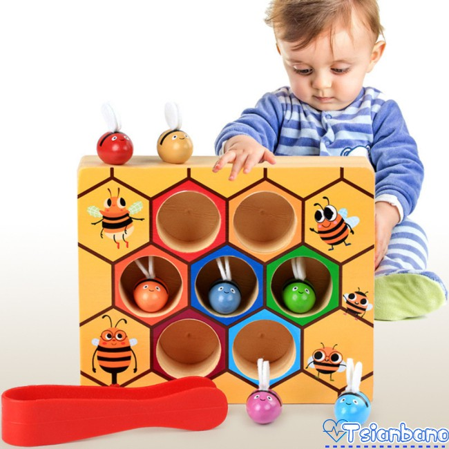 Wooden Leaning Educatinal Toys Children Beehive Color Game Cognitive Small Childhood Toy Bee Clip