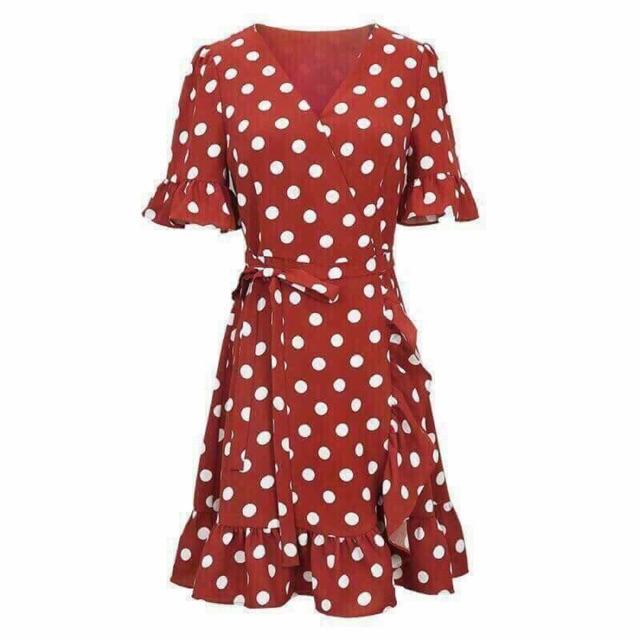 Ordr váy chấm bi đỏ