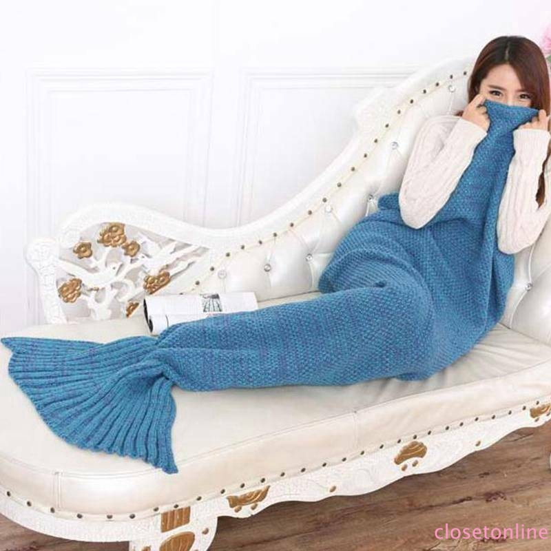Sale Winter Kids Adult Soft Blanket Mermaid Tail Warm Fish Scales Wool Knitted Crochet CL