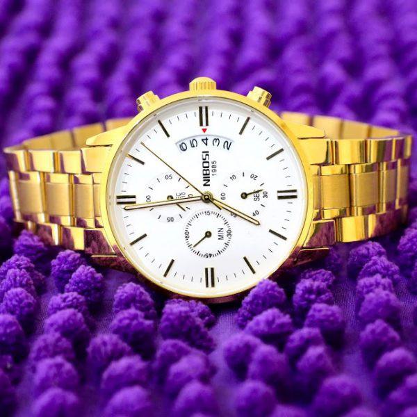 đồng hồ nam nibosi dây vàng đẳng cấp và sang trọng chống nước chống xước,tặng kèm vòng tì hưu