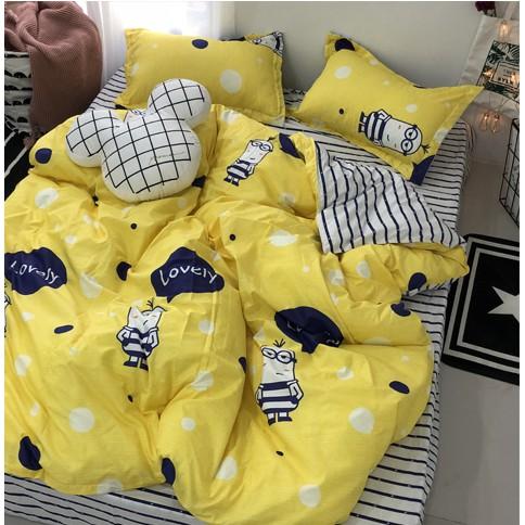 Set vỏ chăn + ga + 2 gối lovely minion xanh vàng