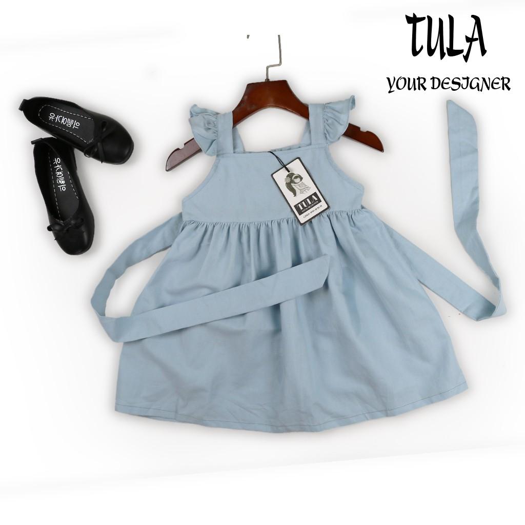 1967997521 - Váy đầm bé gái thiết kế bồng xòe cổ vuông màu xanh vải Linen Hàn Quốc