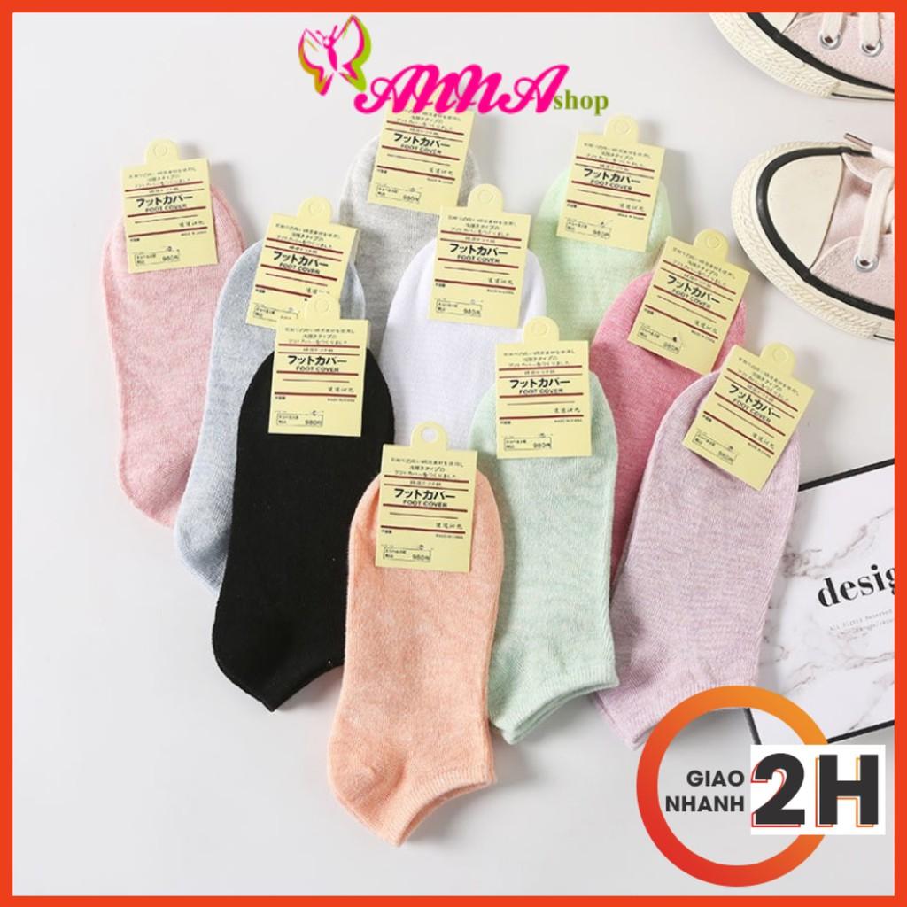 Tất vớ nữ ngắn mang giày thể thao 100% cotton co dãn thoải mái (MS 13008) Anna Shop