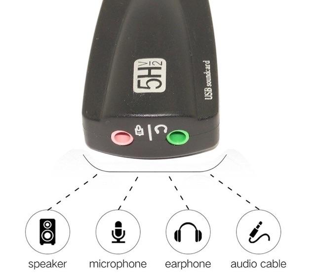 [SALE 10%] Thiết bị chuyển đổi, card âm thanh qua cổng USB Steel Sound 5Hv2 USB 7.1 Channel Sound Card 12 kênh
