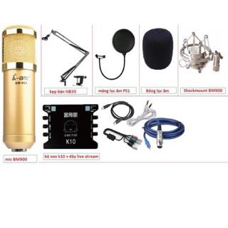 [Mã ELMS4 giảm 7% đơn 500K] COMBO bộ livetream karaoke AMI BM 900, k10, dây, châm đế, màng lọc tai nghe j5